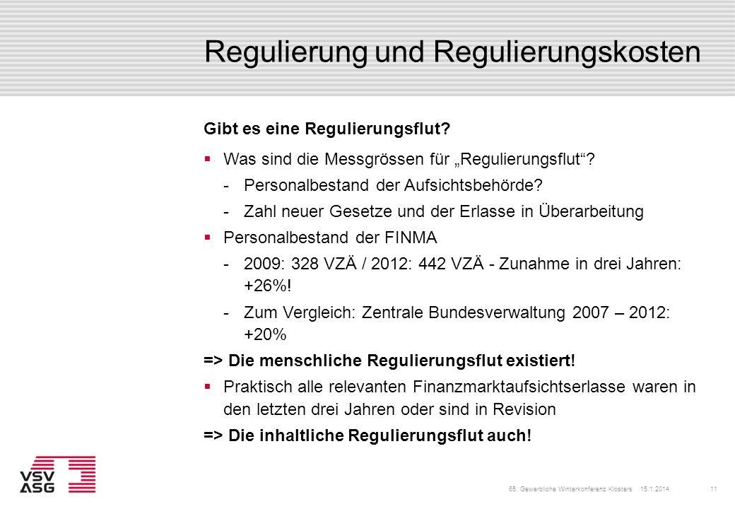 Regulierung und Regulierungskosten Gibt es eine Regulierungsflut? Was sind die Messgrössen für Regulierungsflut? Personalbestand der Aufsichtsbehörde