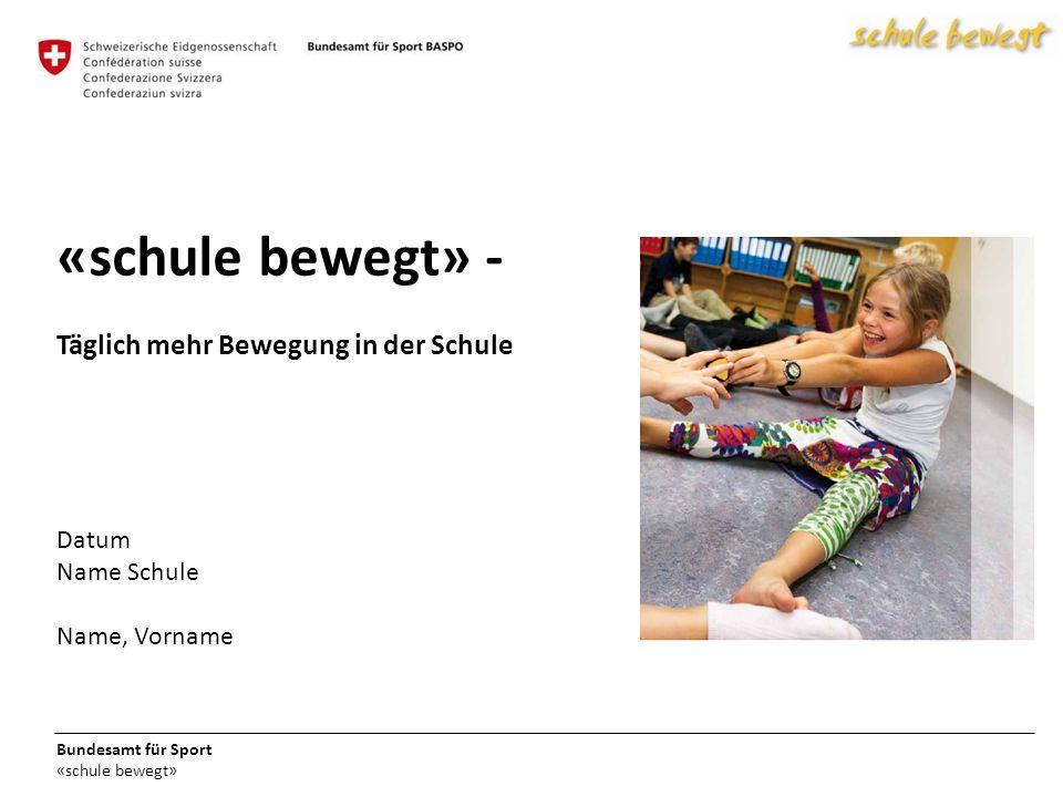 Bundesamt für Sport «schule bewegt» «schule bewegt» - Täglich mehr Bewegung in der Schule Datum Name Schule Name, Vorname