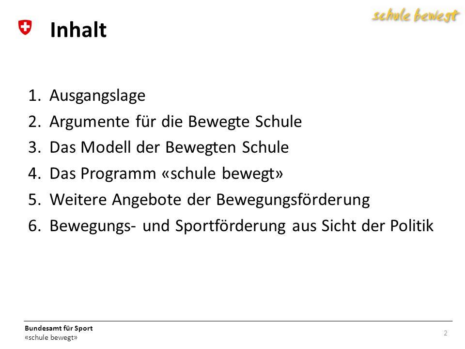 Bundesamt für Sport «schule bewegt» Die Lebenswelt der Kinder und Jugendlichen: 13 3.
