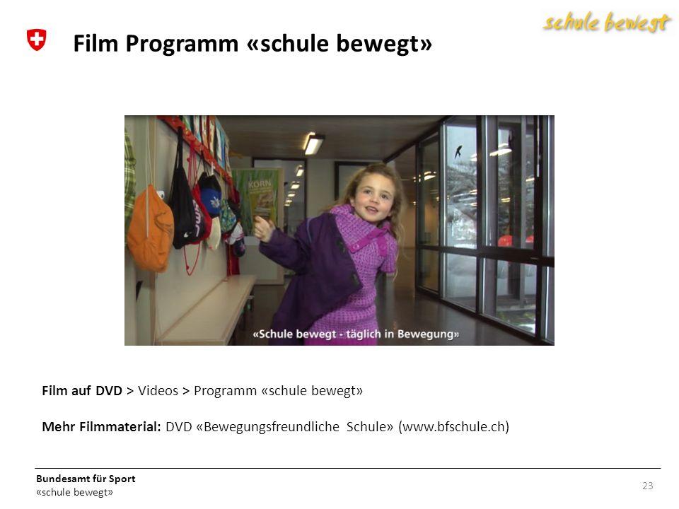 Bundesamt für Sport «schule bewegt» 23 Film Programm «schule bewegt» Film auf DVD > Videos > Programm «schule bewegt» Mehr Filmmaterial: DVD «Bewegungsfreundliche Schule» (www.bfschule.ch)