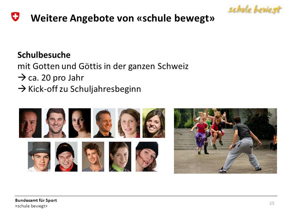 Bundesamt für Sport «schule bewegt» Schulbesuche mit Gotten und Göttis in der ganzen Schweiz ca.