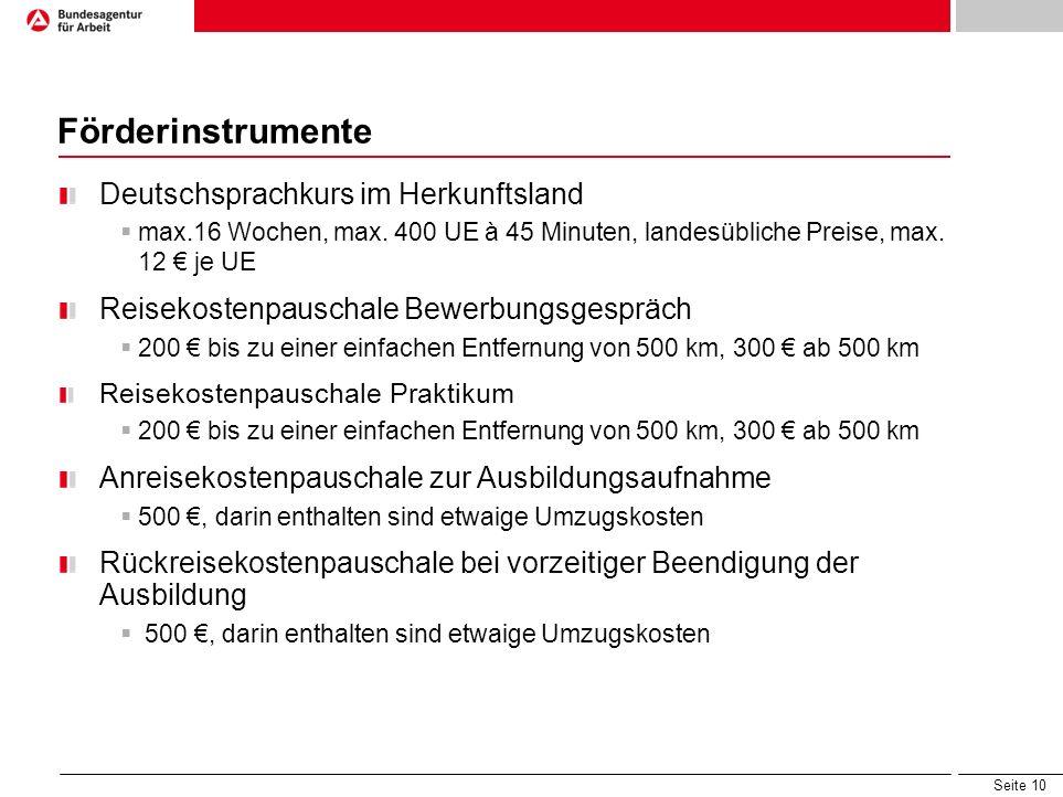 Seite 10 Förderinstrumente Deutschsprachkurs im Herkunftsland max.16 Wochen, max. 400 UE à 45 Minuten, landesübliche Preise, max. 12 je UE Reisekosten