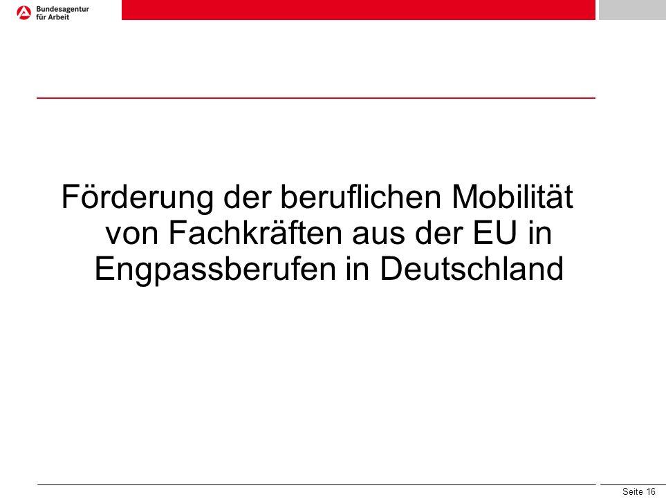 Seite 16 Förderung der beruflichen Mobilität von Fachkräften aus der EU in Engpassberufen in Deutschland