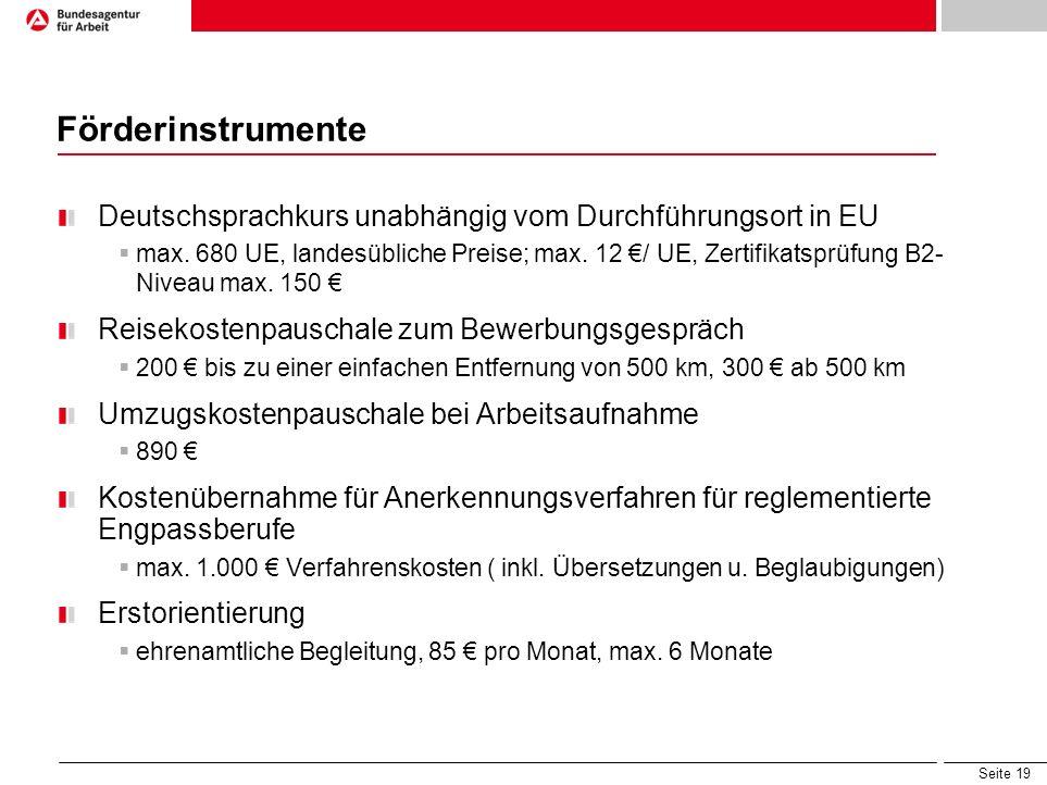Seite 19 Förderinstrumente Deutschsprachkurs unabhängig vom Durchführungsort in EU max. 680 UE, landesübliche Preise; max. 12 / UE, Zertifikatsprüfung
