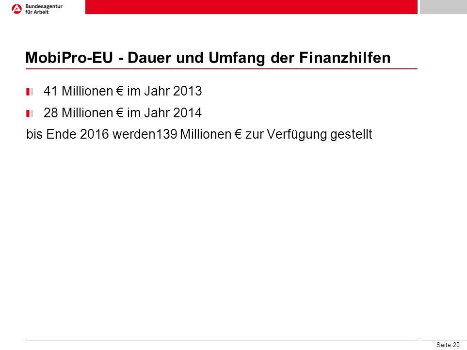 Seite 20 MobiPro-EU - Dauer und Umfang der Finanzhilfen 41 Millionen im Jahr 2013 28 Millionen im Jahr 2014 bis Ende 2016 werden139 Millionen zur Verf