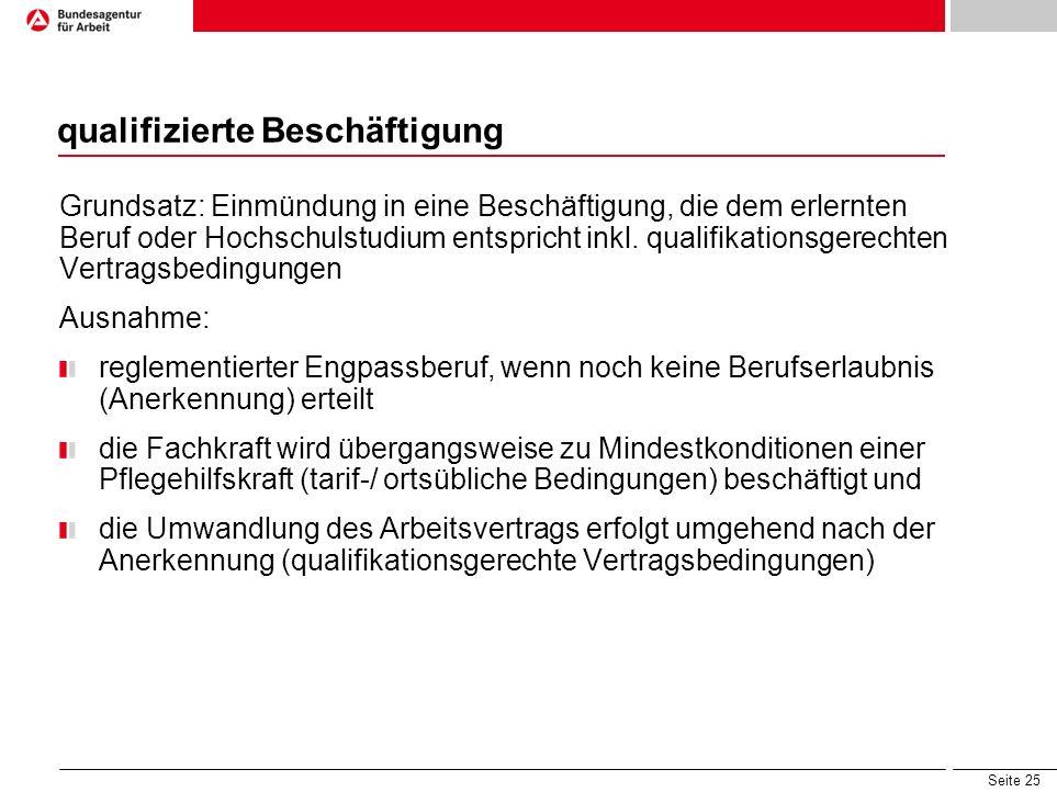 Seite 25 qualifizierte Beschäftigung Grundsatz: Einmündung in eine Beschäftigung, die dem erlernten Beruf oder Hochschulstudium entspricht inkl. quali