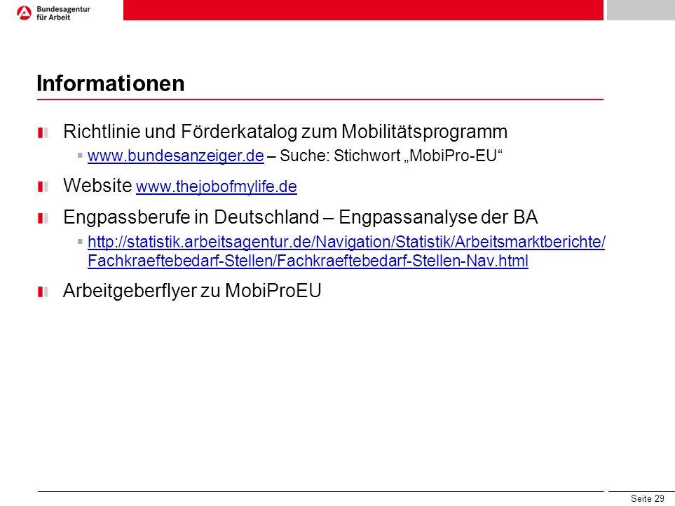 Seite 29 Informationen Richtlinie und Förderkatalog zum Mobilitätsprogramm www.bundesanzeiger.de – Suche: Stichwort MobiPro-EU www.bundesanzeiger.de W