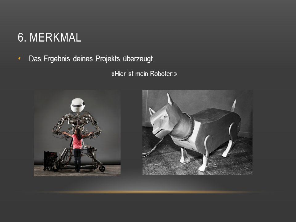 6. MERKMAL Das Ergebnis deines Projekts überzeugt. «Hier ist mein Roboter:»