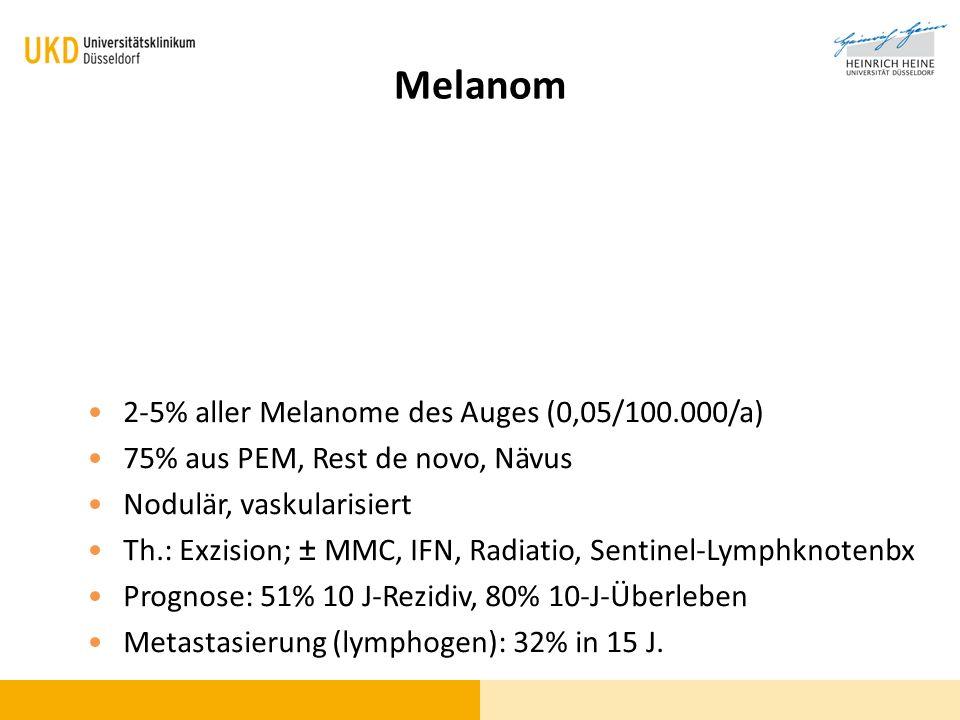 Melanom 2-5% aller Melanome des Auges (0,05/100.000/a) 75% aus PEM, Rest de novo, Nävus Nodulär, vaskularisiert Th.: Exzision; ± MMC, IFN, Radiatio, S