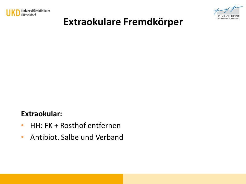 Extraokulare Fremdkörper Extraokular: HH: FK + Rosthof entfernen Antibiot. Salbe und Verband