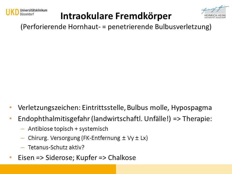 Intraokulare Fremdkörper (Perforierende Hornhaut- = penetrierende Bulbusverletzung) Verletzungszeichen: Eintrittsstelle, Bulbus molle, Hypospagma Endo