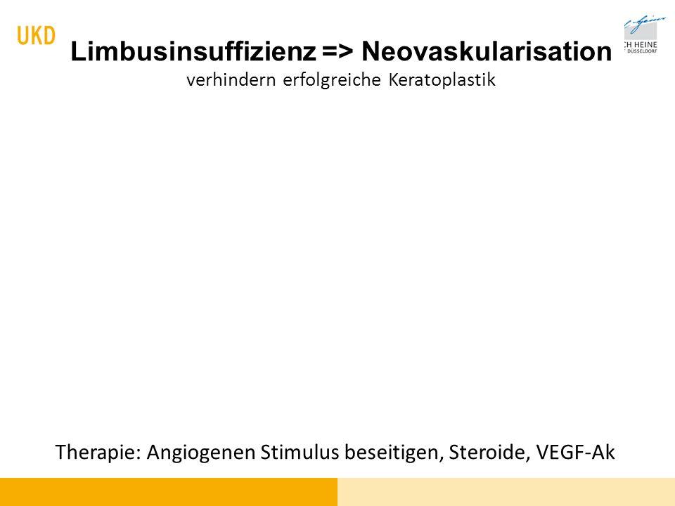 Limbusinsuffizienz => Neovaskularisation verhindern erfolgreiche Keratoplastik Therapie: Angiogenen Stimulus beseitigen, Steroide, VEGF-Ak