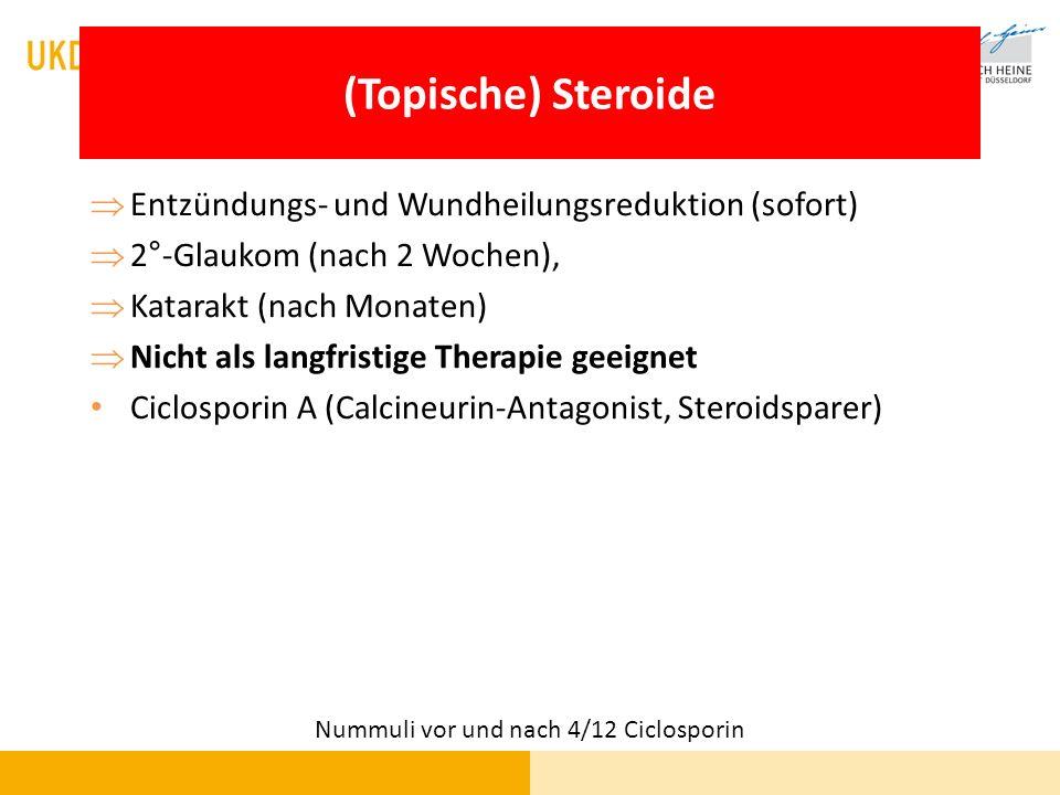 (Topische) Steroide Entzündungs- und Wundheilungsreduktion (sofort) 2°-Glaukom (nach 2 Wochen), Katarakt (nach Monaten) Nicht als langfristige Therapi