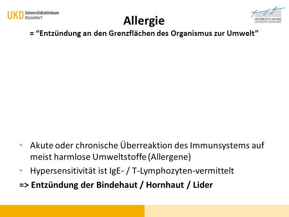 Allergie = Entzündung an den Grenzflächen des Organismus zur Umwelt Akute oder chronische Überreaktion des Immunsystems auf meist harmlose Umweltstoff