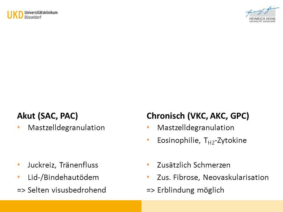 Akut (SAC, PAC) Mastzelldegranulation Juckreiz, Tränenfluss Lid-/Bindehautödem => Selten visusbedrohend Chronisch (VKC, AKC, GPC) Mastzelldegranulatio