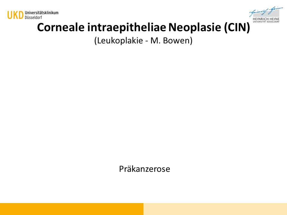 Corneale intraepitheliae Neoplasie (CIN) (Leukoplakie - M. Bowen) Präkanzerose