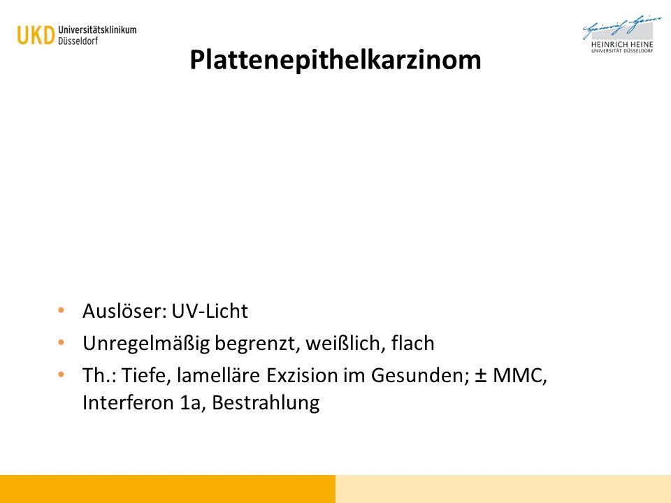 Plattenepithelkarzinom Auslöser: UV-Licht Unregelmäßig begrenzt, weißlich, flach Th.: Tiefe, lamelläre Exzision im Gesunden; ± MMC, Interferon 1a, Bes