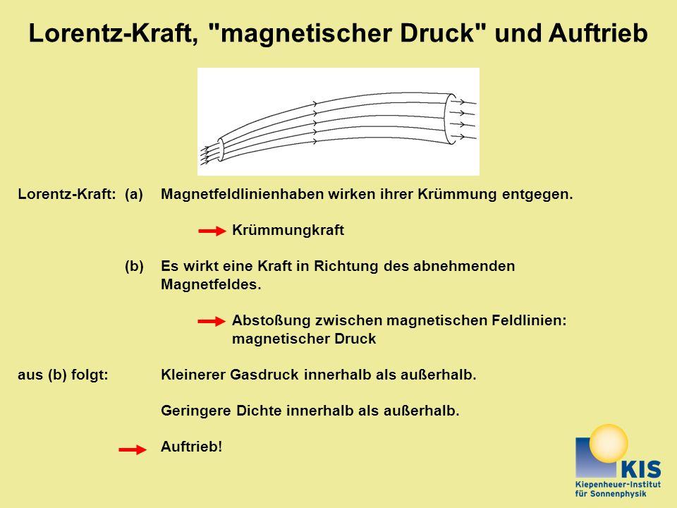 Lorentz-Kraft:(a)Magnetfeldlinienhaben wirken ihrer Krümmung entgegen. Krümmungkraft (b)Es wirkt eine Kraft in Richtung des abnehmenden Magnetfeldes.