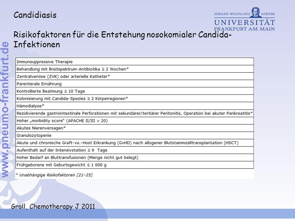 Candidiasis Risikofaktoren für die Entstehung nosokomialer Candida- Infektionen Groll, Chemotherapy J 2011