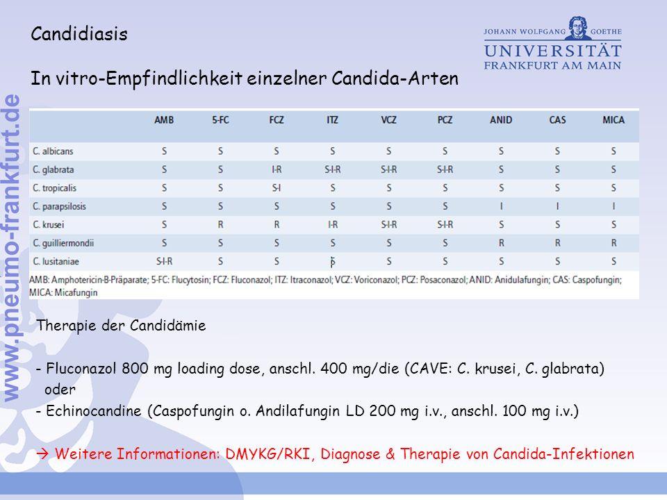 Candidiasis In vitro-Empfindlichkeit einzelner Candida-Arten Therapie der Candidämie - Fluconazol 800 mg loading dose, anschl. 400 mg/die (CAVE: C. kr
