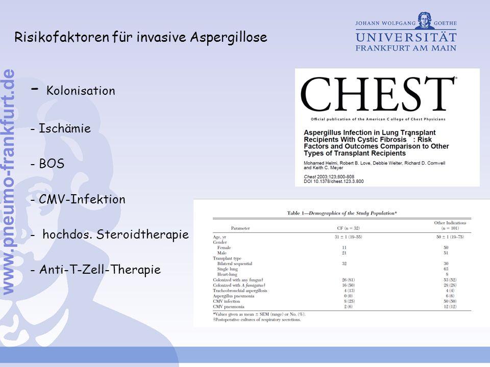 Risikofaktoren für invasive Aspergillose - Kolonisation - Ischämie - BOS - CMV-Infektion - hochdos. Steroidtherapie - Anti-T-Zell-Therapie