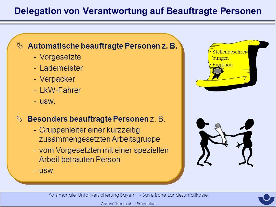 Kommunale Unfallversicherung Bayern - Bayerische Landesunfallkasse Geschäftsbereich I Prävention Delegation von Verantwortung auf Beauftragte Personen