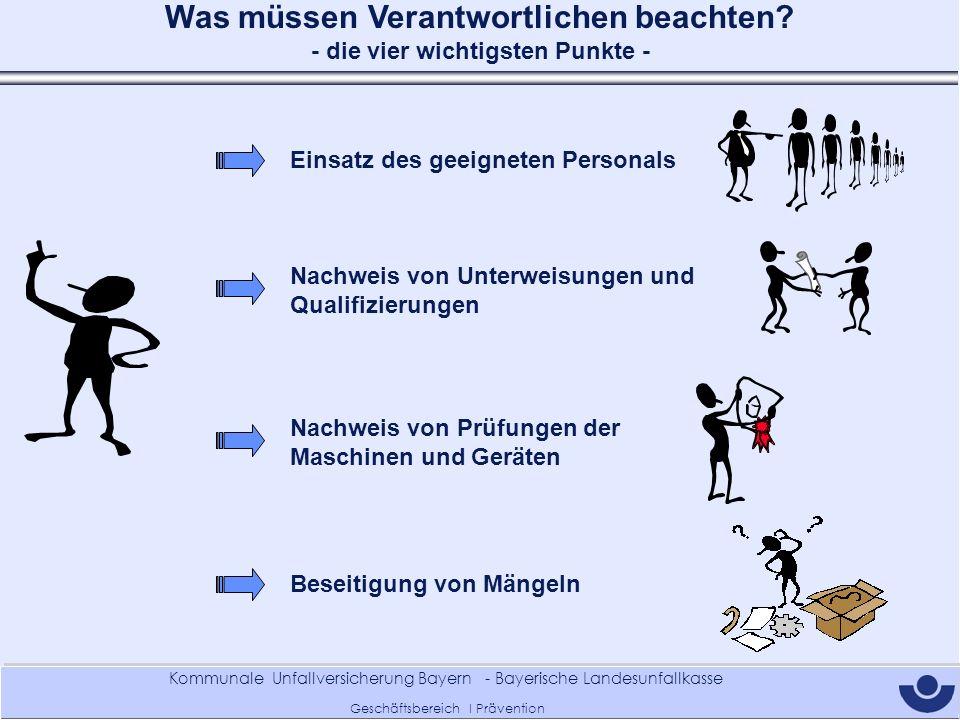 Kommunale Unfallversicherung Bayern - Bayerische Landesunfallkasse Geschäftsbereich I Prävention Was müssen Verantwortlichen beachten? - die vier wich