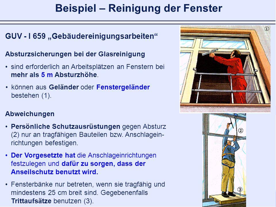 Kommunale Unfallversicherung Bayern - Bayerische Landesunfallkasse Geschäftsbereich I Prävention Absturzsicherungen bei der Glasreinigung sind erforde