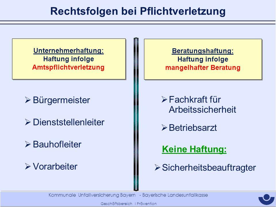 Kommunale Unfallversicherung Bayern - Bayerische Landesunfallkasse Geschäftsbereich I Prävention Rechtsfolgen bei Pflichtverletzung Unternehmerhaftung