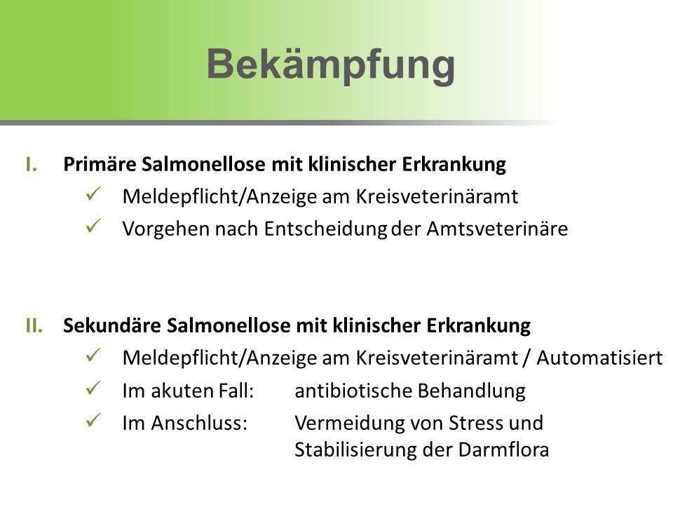 I.Primäre Salmonellose mit klinischer Erkrankung Meldepflicht/Anzeige am Kreisveterinäramt Vorgehen nach Entscheidung der Amtsveterinäre II.Sekundäre