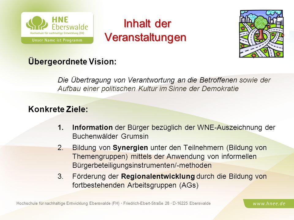 Projektteam Regionale Esskultur Brandenburg · HNE Eberswalde (FH) · Modul Projektplanung und -managementSeite 11 Hochschule für nachhaltige Entwicklun