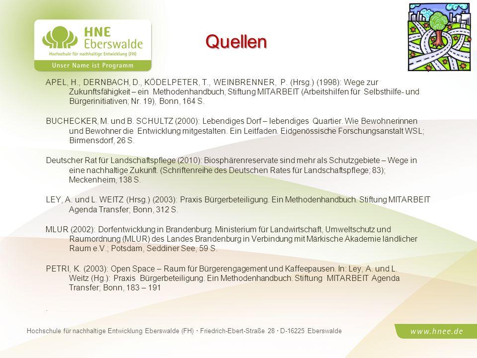 Projektteam Regionale Esskultur Brandenburg · HNE Eberswalde (FH) · Modul Projektplanung und -managementSeite 17 Hochschule für nachhaltige Entwicklun