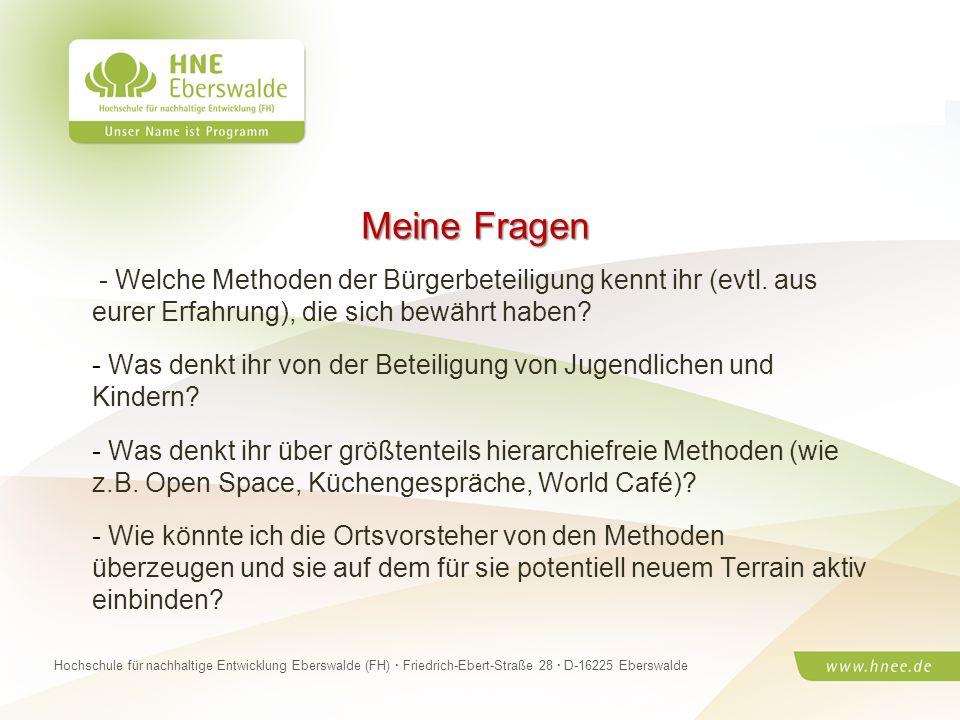 Projektteam Regionale Esskultur Brandenburg · HNE Eberswalde (FH) · Modul Projektplanung und -managementSeite 23 Hochschule für nachhaltige Entwicklun