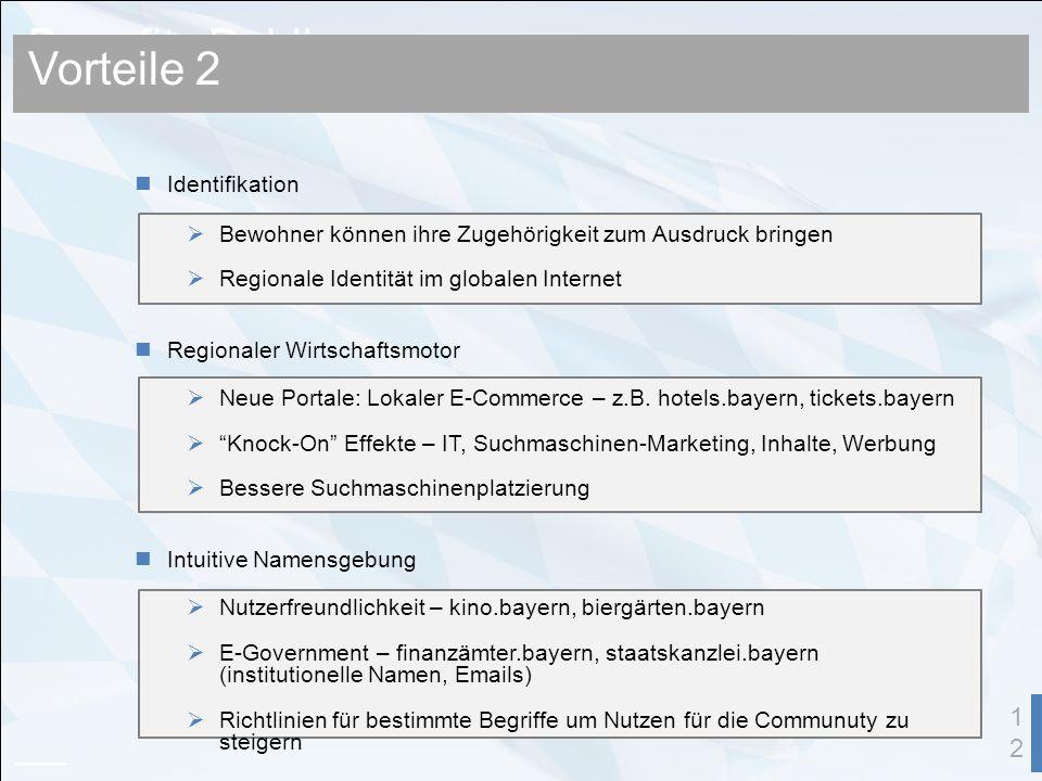 Benefits Public 12 Identifikation Bewohner können ihre Zugehörigkeit zum Ausdruck bringen Regionale Identität im globalen Internet Regionaler Wirtschaftsmotor Neue Portale: Lokaler E-Commerce – z.B.