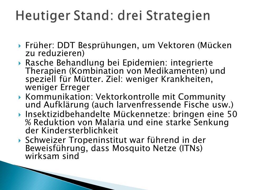 Früher: DDT Besprühungen, um Vektoren (Mücken zu reduzieren) Rasche Behandlung bei Epidemien: integrierte Therapien (Kombination von Medikamenten) und