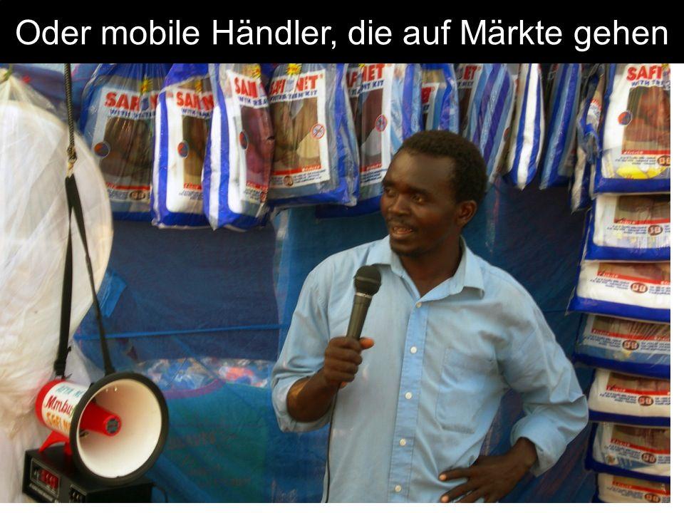 Oder mobile Händler, die auf Märkte gehen