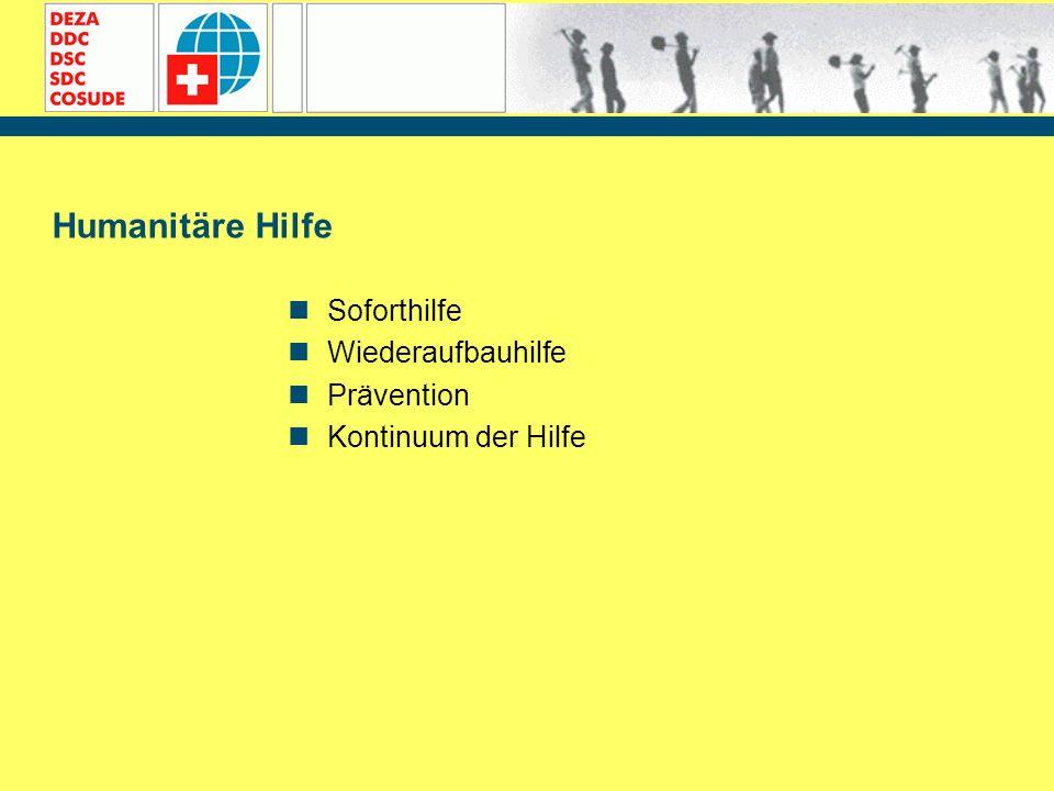 Humanitäre Hilfe Soforthilfe Wiederaufbauhilfe Prävention Kontinuum der Hilfe