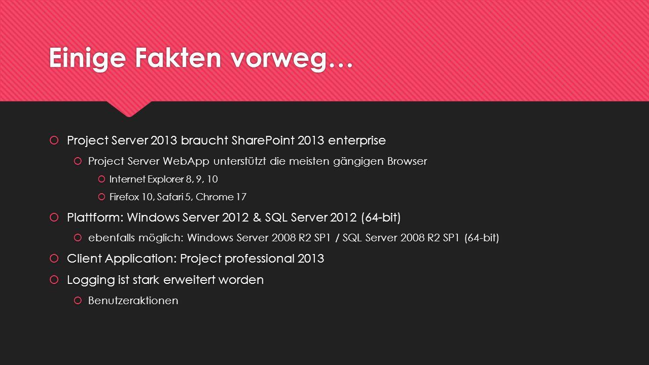 Einige Fakten vorweg… Project Server 2013 braucht SharePoint 2013 enterprise Project Server WebApp unterstützt die meisten gängigen Browser Internet E