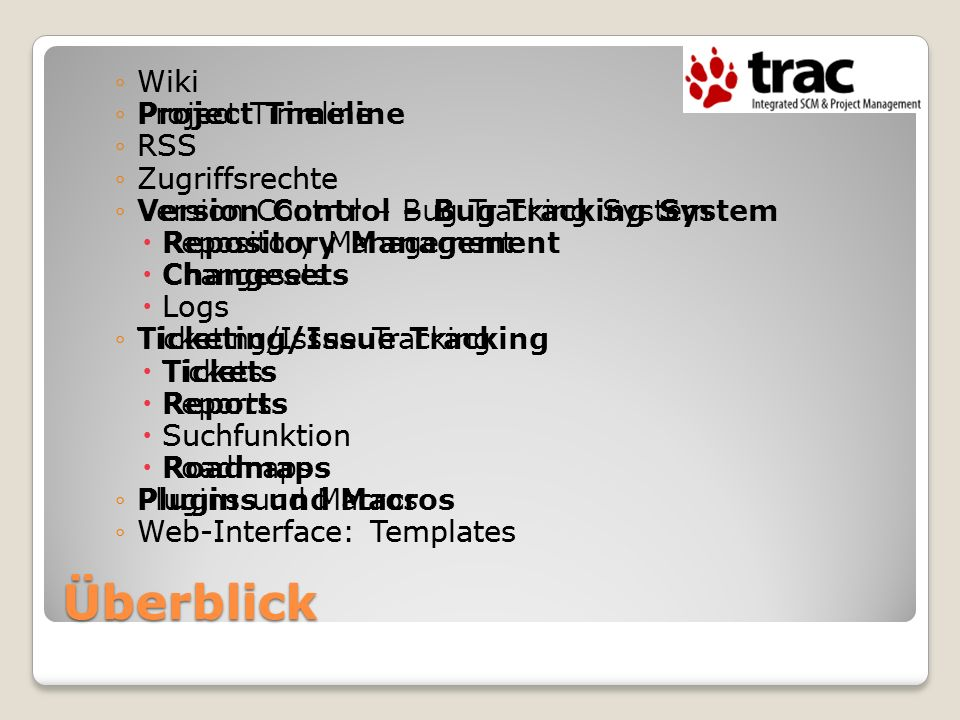 Überblick Wiki Project Timeline RSS Zugriffsrechte Version Control – Bug Tracking System Repository Management Changesets Logs Ticketing/Issue Trackin