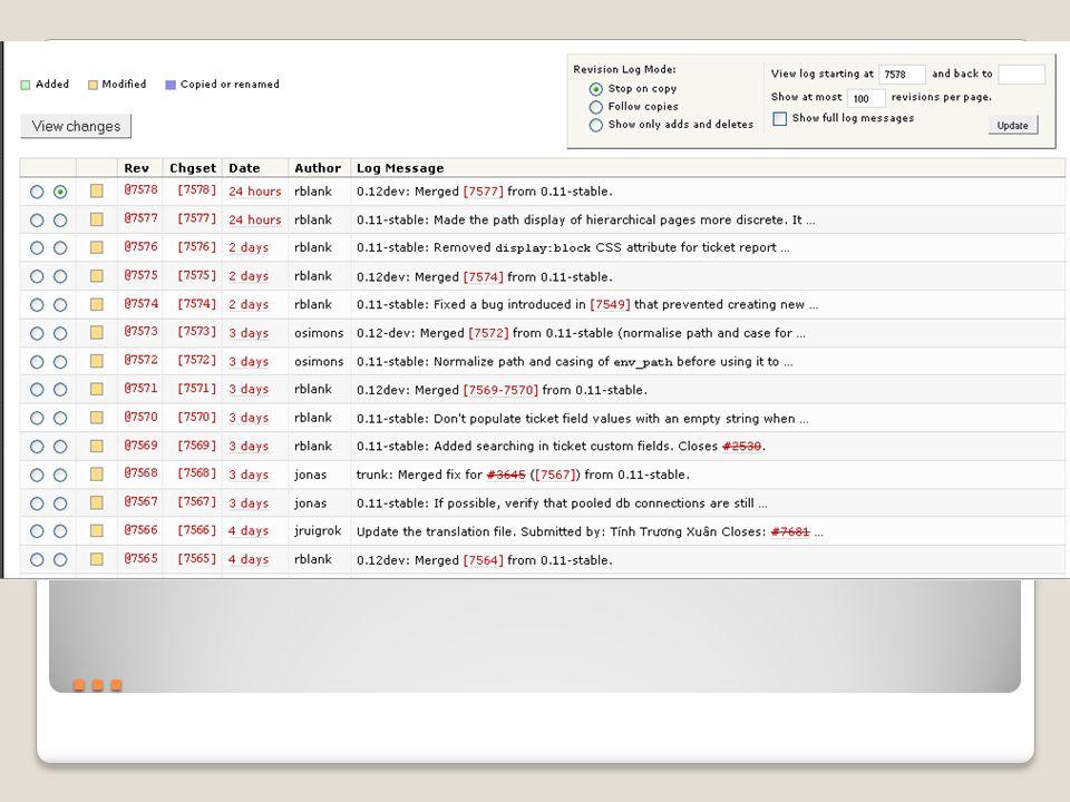 … Changesets s.g. diffs – Änderungen in Dateien Sämtliche Arten von Änderungen, z.b. Repository-Updates 2 Teile: header und diff view Header: Überblic