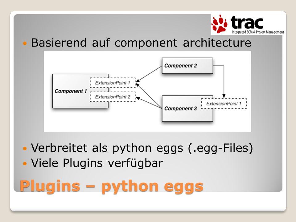 Plugins – python eggs Basierend auf component architecture Verbreitet als python eggs (.egg-Files) Viele Plugins verfügbar