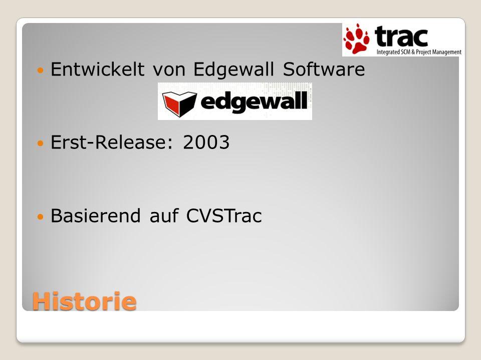 Historie Entwickelt von Edgewall Software Erst-Release: 2003 Basierend auf CVSTrac