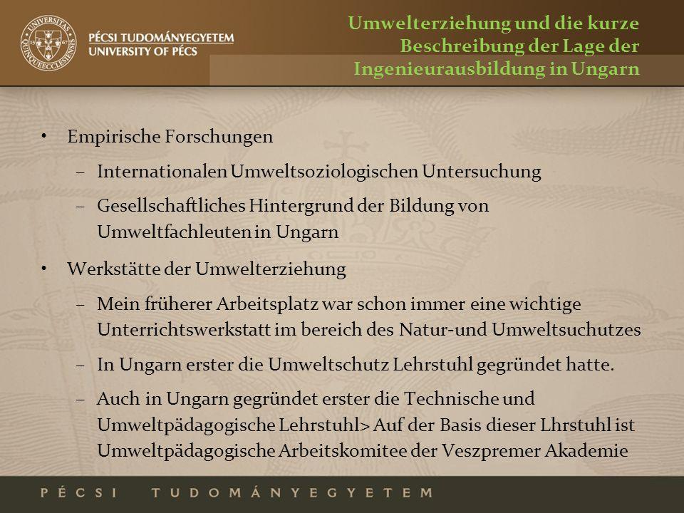 Umwelterziehung und die kurze Beschreibung der Lage der Ingenieurausbildung in Ungarn Empirische Forschungen –Internationalen Umweltsoziologischen Unt