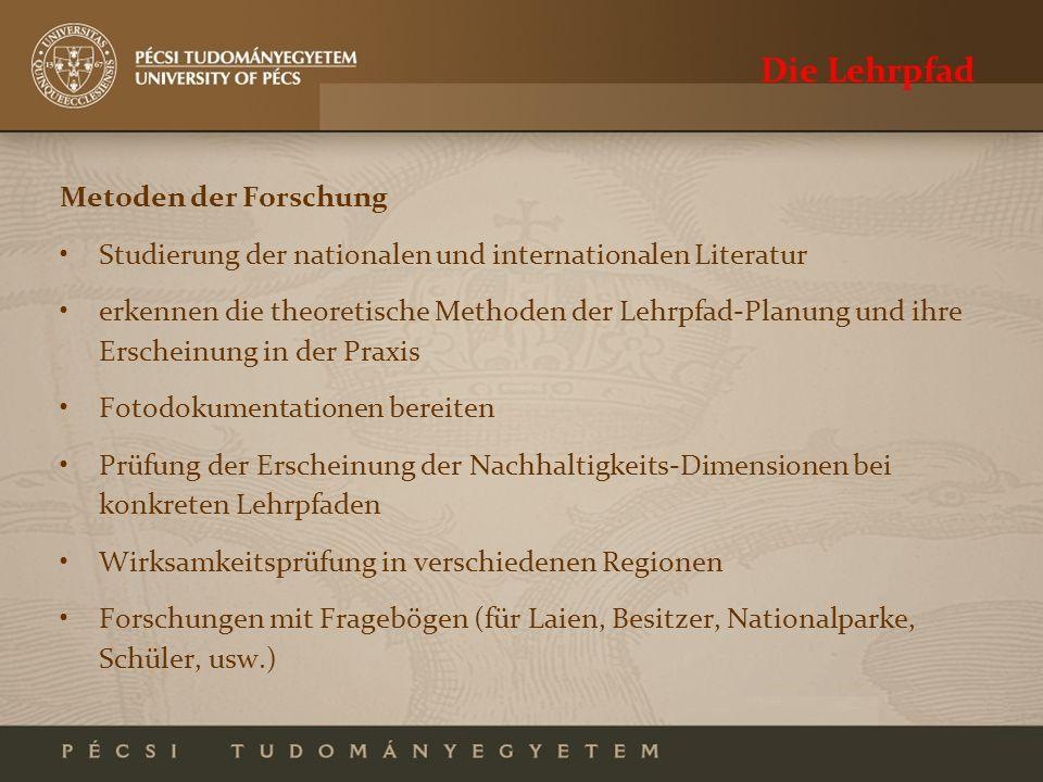 Die Lehrpfad Metoden der Forschung Studierung der nationalen und internationalen Literatur erkennen die theoretische Methoden der Lehrpfad-Planung und