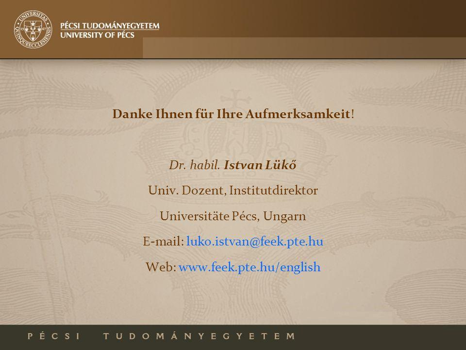 Danke Ihnen für Ihre Aufmerksamkeit! Dr. habil. Istvan Lükő Univ. Dozent, Institutdirektor Universitäte Pécs, Ungarn E-mail: luko.istvan@feek.pte.hu W