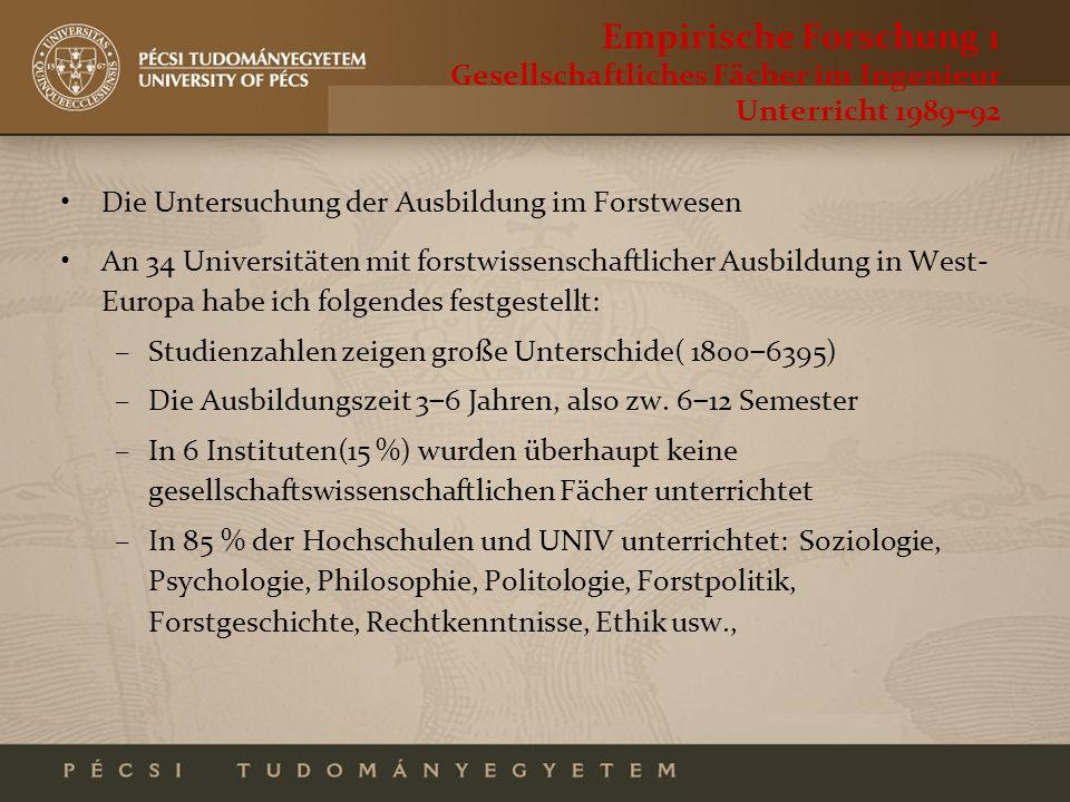 Empirische Forschung 1 Gesellschaftliches Fächer im Ingenieur Unterricht 198992 Die Untersuchung der Ausbildung im Forstwesen An 34 Universitäten mit