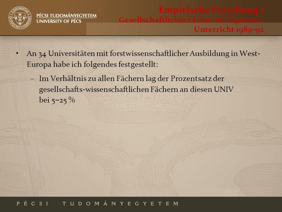 Empirische Forschung 1 Gesellschaftliches Fächer im Ingenieur Unterricht 198992 An 34 Universitäten mit forstwissenschaftlicher Ausbildung in West- Eu