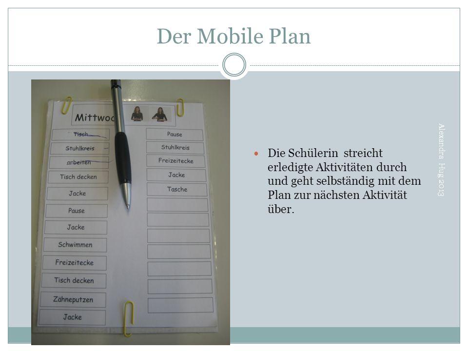 Der Mobile Plan Alexandra Hug 2013 Die Schülerin streicht erledigte Aktivitäten durch und geht selbständig mit dem Plan zur nächsten Aktivität über.