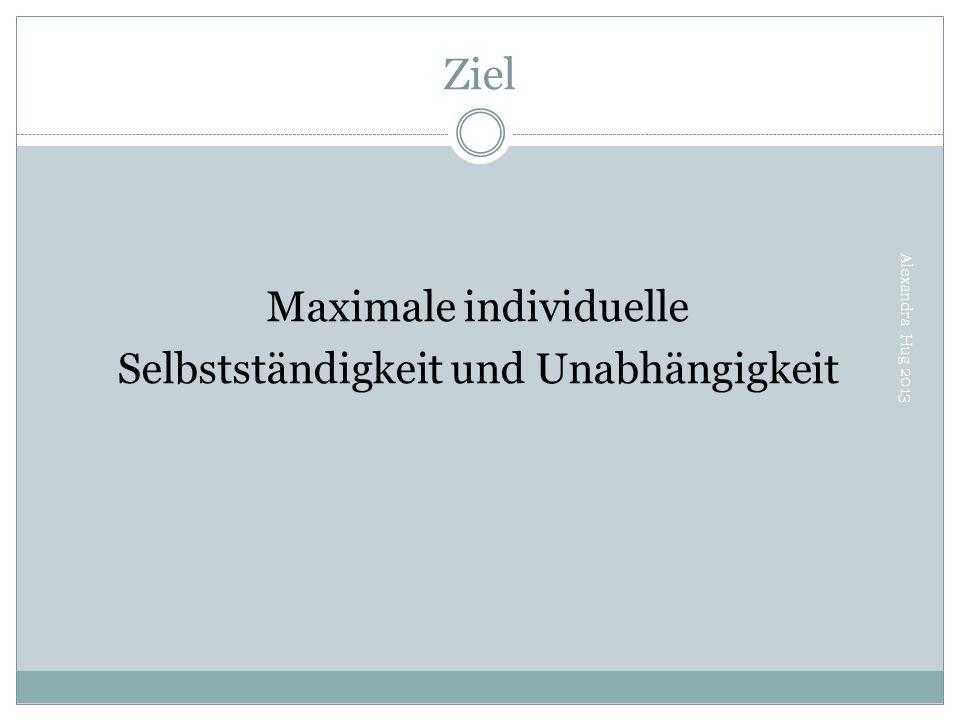 Ziel Alexandra Hug 2013 Maximale individuelle Selbstständigkeit und Unabhängigkeit