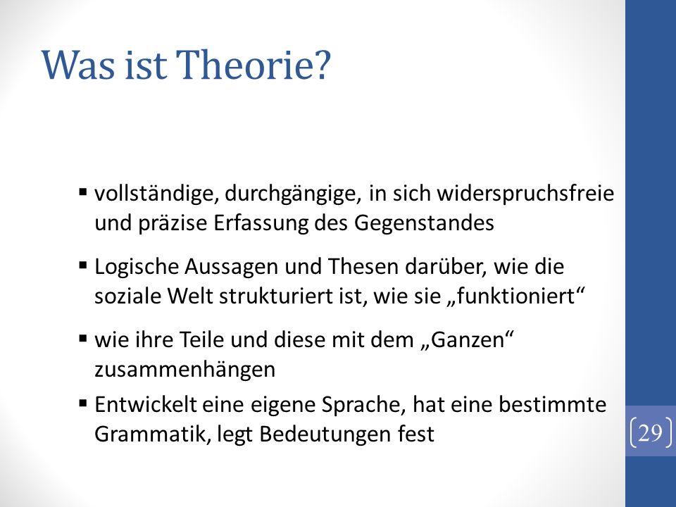 Was ist Theorie? vollständige, durchgängige, in sich widerspruchsfreie und präzise Erfassung des Gegenstandes Logische Aussagen und Thesen darüber, wi
